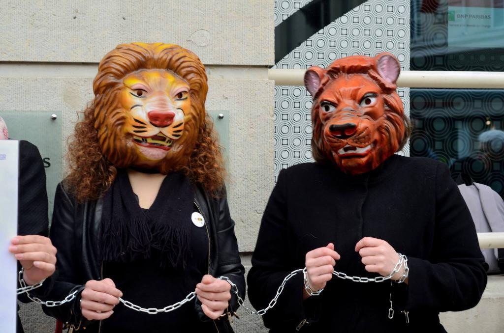 L214 à l'un des happenings contre les cirques avec animaux, à Tours (Photo facebook.com/vegorestotours)