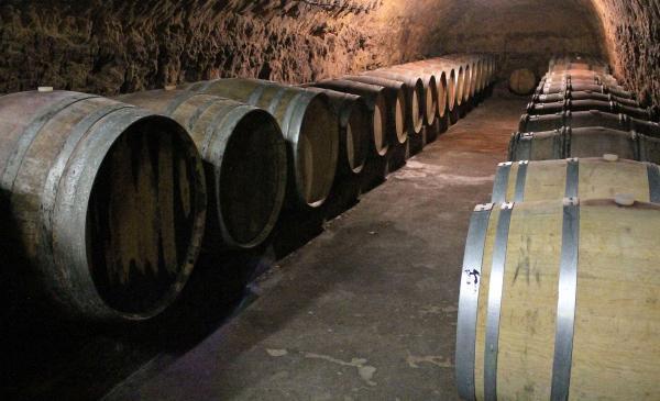Dans la cave historique du domaine, le vin se bonifie en fût de chêne.