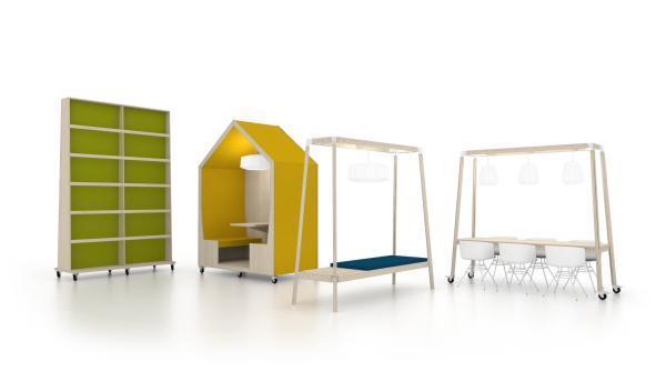 Les meubles de l'espace co-working.
