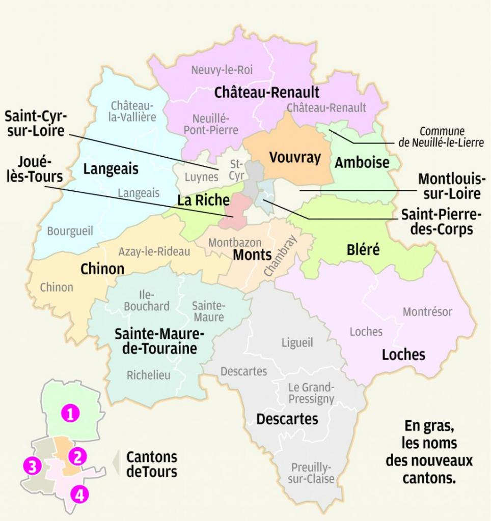 La carte des nouveaux cantons d'Indre-et-Loire.